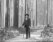 "0405-B01 (detail from large plate) Photographer J. F. Ford in old growth timber.  Photographer's caption: ""Fir Timber, Seattle W"" ""By J. F. Ford"""
