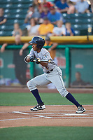 Magneuris Sierra (8) of the New Orleans Baby Cakes squares to bunt against the Salt Lake Bees at Smith's Ballpark on June 11, 2018 in Salt Lake City, Utah. New Orleans defeated Salt Lake 6-5.  (Stephen Smith/Four Seam Images)