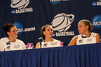BERKELEY, CA - MARCH 30: Jillian Harmon, Jeanette Pohlen and Jayne Appel in the post-game press conference following Stanford's 74-53 win against the Iowa State Cyclones on March 30, 2009 at Haas Pavilion in Berkeley, California.