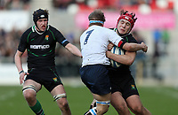 SCHOOLS CUP FINAL<br /> Monday 17th March 2014<br /> <br /> Dave Cave is tackled by Matthew McKinney during the Ulster Schools Cup final between MCB and Sullivan Upper School at Ravenhill Stadium, Belfast.<br /> <br /> Mandatory Image Credit - Photo by JOHN DICKSON - DICKSONDIGITAL
