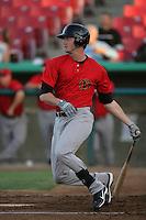 Jon Griffin #33 of the Visalia Rawhide bats against the High Desert Mavericks at Stater Bros. Stadium on May 15, 2012 in Adelanto,California. (Larry Goren/Four Seam Images)