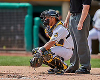 Carlos Perez (19) of the Salt Lake Bees on defense against the El Paso Chihuahuas in Pacific Coast League action at Smith's Ballpark on April 30, 2017 in Salt Lake City, Utah. El Paso defeated Salt Lake 3-0. This was Game 1 of a double-header. (Stephen Smith/Four Seam Images)