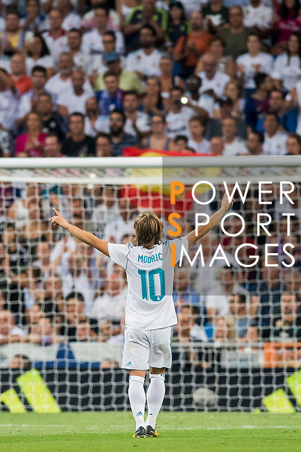Luka Modric of Real Madrid celebrates during their Supercopa de Espana Final 2nd Leg match between Real Madrid and FC Barcelona at the Estadio Santiago Bernabeu on 16 August 2017 in Madrid, Spain. Photo by Diego Gonzalez Souto / Power Sport Images