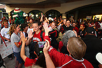 8 April 2008: Stanford Cardinal Jillian Harmon, Hannah Donaghe, Kayla Pedersen, Morgan Clyburn, Jeanette Pohlen, and Rosalyn Gold-Onwude during Stanford's send off party before their 64-48 loss against the Tennessee Lady Volunteers in the 2008 NCAA Division I Women's Basketball Final Four championship game at the St. Pete Times Forum Arena in Tampa Bay, FL.