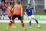St Johnstone v Dundee United…22.08.21  McDiarmid Park    SPFL<br />Jamie McCart is closed down by Nicky Clarke and Peter Pawlett<br />Picture by Graeme Hart.<br />Copyright Perthshire Picture Agency<br />Tel: 01738 623350  Mobile: 07990 594431