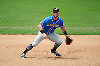Akron RubberDucks third baseman Joe Sever (9) during the first game of a doubleheader against the Bowie Baysox on June 5, 2016 at Prince George's Stadium in Bowie, Maryland.  Bowie defeated Akron 6-0.  (Mike Janes/Four Seam Images)
