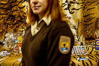 A female agent from the U.S. Fish & Wildlife Service stands in front of tiger parts, including teeth, fur, and others - which have been seized by US Customs.