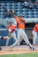 Bowling Green Hot Rods shortstop Wander Franco (4) swings the bat against the West Michigan Whitecaps on May 21, 2019 at Fifth Third Ballpark in Grand Rapids, Michigan. The Whitecaps defeated the Hot Rods 4-3.  (Andrew Woolley/Four Seam Images)