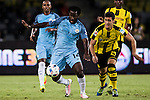Manchester City striker Wilfried Bony (l) and Borussia Dortmund midfielder Mikel Merino (r) during the match between Manchester City FC at the 2016 International Champions Cup China match at the Shenzhen Stadium on 28 July 2016 in Shenzhen, China. Photo by Victor Fraile / Power Sport Images