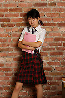 Montreal,  CANADA - Model Released  Illustration Photo - Asian   schoolgirl.<br /> <br /> Photo :  Agence Quebec Presse - Pierre Roussel