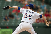 Round Rock Express pitcher Scott Richmond (55) delivers a pitch to the plate during the Pacific Coast League baseball game against the New Orleans Zephyrs on June 30, 2013 at the Dell Diamond in Round Rock, Texas. Round Rock defeated New Orleans 5-1. (Andrew Woolley/Four Seam Images)
