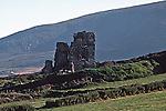 Irish Ruin, Irish countryside, hilly green hills of Ireland