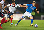 St Johnstone v FC Minsk...08.08.13 Europa League Qualifier<br /> David Wotherspoon and Raman Behunov<br /> Picture by Graeme Hart.<br /> Copyright Perthshire Picture Agency<br /> Tel: 01738 623350  Mobile: 07990 594431
