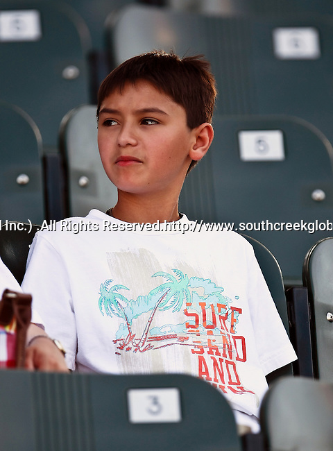 Fort Worth Cats fan, Matthew Breedlove, watches the American Association of Independant Professional Baseball game between the Amarillo Sox and the Fort Worth Cats at the historic LaGrave Baseball Field in Fort Worth, Tx. Fort Worth defeats Amarillo 5 to 3.