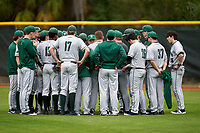 Dartmouth Big Green team meeting with head coach Bob Whalen before a game against the Indiana State Sycamores on February 21, 2020 at North Charlotte Regional Park in Port Charlotte, Florida.  Indiana State defeated Dartmouth 1-0.  (Mike Janes/Four Seam Images)