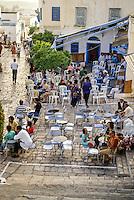 Tunisia, Sidi Bou Said.  Haj Omar's Coffee Shop, an Outdoor Cafe.