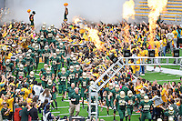 Member of Baylor football team take the field before an NCAA football game kickoff, Saturday, October 11, 2014 in Waco, Tex. Baylor defeated TCU 61-58 to remain undefeated in BIG 12 conference. (Mo Khursheed/TFV Media via AP Images)