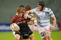 20121020 Copyright onEdition 2012©.Free for editorial use image, please credit: onEdition..David Strettle of Saracens forces his way past Jacques Cronje of Racing Metro 92 during the Heineken Cup Round 2 match between Saracens and Racing Metro 92 at the King Baudouin Stadium, Brussels on Saturday 20th October 2012 (Photo by Rob Munro)..For press contacts contact: Sam Feasey at brandRapport on M: +44 (0)7717 757114 E: SFeasey@brand-rapport.com..If you require a higher resolution image or you have any other onEdition photographic enquiries, please contact onEdition on 0845 900 2 900 or email info@onEdition.com.This image is copyright the onEdition 2012©..This image has been supplied by onEdition and must be credited onEdition. The author is asserting his full Moral rights in relation to the publication of this image. Rights for onward transmission of any image or file is not granted or implied. Changing or deleting Copyright information is illegal as specified in the Copyright, Design and Patents Act 1988. If you are in any way unsure of your right to publish this image please contact onEdition on 0845 900 2 900 or email info@onEdition.com