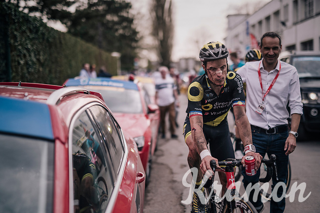 Sylvain Chavanel (FRA/Direct Energie) after finishing the race, but clearly showing the results of an earlier crash<br /> <br /> 116th Paris-Roubaix (1.UWT)<br /> 1 Day Race. Compiègne - Roubaix (257km)
