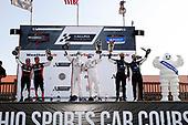 #31 Whelen Engineering Racing Cadillac DPi, DPi: Pipo Derani, Felipe Nasr, #7 Acura Team Penske Acura DPi, DPi: Helio Castroneves, Ricky Taylor, #10 Konica Minolta Cadillac DPi-V.R. Cadillac DPi, DPi: Renger Van Der Zande, Ryan Briscoe, podium