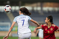 England's Jill Scott and Spain's Leila Ouahabi during the frendly match between woman teams of  Spain and England at Fernando Escartin Stadium in Guadalajara, Spain. October 25, 2016. (ALTERPHOTOS/Rodrigo Jimenez) /NORTEPHOTO.COM