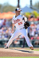 Baltimore Orioles pitcher Bud Norris (25) during a spring training game against the Boston Red Sox on March 8, 2014 at Ed Smith Stadium in Sarasota, Florida.  Baltimore defeated Boston 7-3.  (Mike Janes/Four Seam Images)