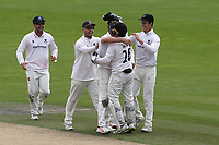 Sussex captain, Ben Brown celebrates by hugging Stiaan Van Zyl after the bowler took the wicket of Glamorgan batsman, Billy Root during Sussex CCC vs Glamorgan CCC, LV Insurance County Championship Group 3 Cricket at The 1st Central County Ground on 5th July 2021