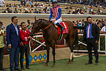DEL MAR, CA. AUGUST 12:  #1 Run Away ridden by Flavien Prat, in the winners circle after  winning the Best Pal Stakes (Grade ll) on August 12, 2017, at Del Mar Thoroughbred Club in Del Mar, CA. (Photo by Casey Phillips/Eclipse Sportswire/Getty )
