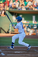 James Outman (47) of the Ogden Raptors bats against the Helena Brewers at Lindquist Field on July 14, 2018 in Ogden, Utah. Ogden defeated Helena 8-6. (Stephen Smith/Four Seam Images)
