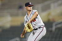 Rome Braves relief pitcher Ryan Shetter (59) in action against the Kannapolis Intimidators at Kannapolis Intimidators Stadium on July 2, 2019 in Kannapolis, North Carolina.  The Intimidators walked-off the Braves 5-4. (Brian Westerholt/Four Seam Images)