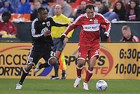 Chicago Fire midfielder Cuauhtemoc Blanco (10) runs with the ball while being chased from behind by DC United midfielder Rodney Wallace (22)   Chicago Fire tied  DC United 1-1 at  RFK Stadium, Saturday March 28, 2009.