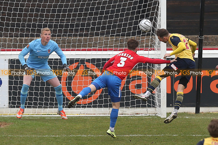 Sam Ashford of Woking scores the first goal for his team during Dagenham & Redbridge vs Woking, Vanarama National League Football at the Chigwell Construction Stadium on 3rd May 2021
