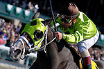 18 October 2009: Jockey Javier Castellano guides Unspoken Word to an easy victory in the third race on the card, a $100,000 Allowance Optional Claiming race.