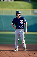 Sam Travis (12) of the Tacoma Rainiers takes a lead from second base against the Salt Lake Bees at Smith's Ballpark on May 13, 2021 in Salt Lake City, Utah. The Rainiers defeated the Bees 15-5. (Stephen Smith/Four Seam Images)