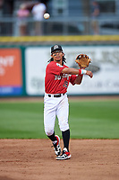 Billings Mustangs second baseman Quincy McAfee (19) throws to first base during a Pioneer League game against the Grand Junction Rockies at Dehler Park on August 14, 2019 in Billings, Montana. Grand Junction defeated Billings 8-5. (Zachary Lucy/Four Seam Images)