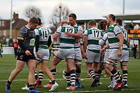 Harry Sloan of Ealing Trailfinders gets a hug for his try during the Championship Cup Quarter Final match between Ealing Trailfinders and Nottingham Rugby at Castle Bar , West Ealing , England  on 2 February 2019. Photo by Carlton Myrie / PRiME Media Images.