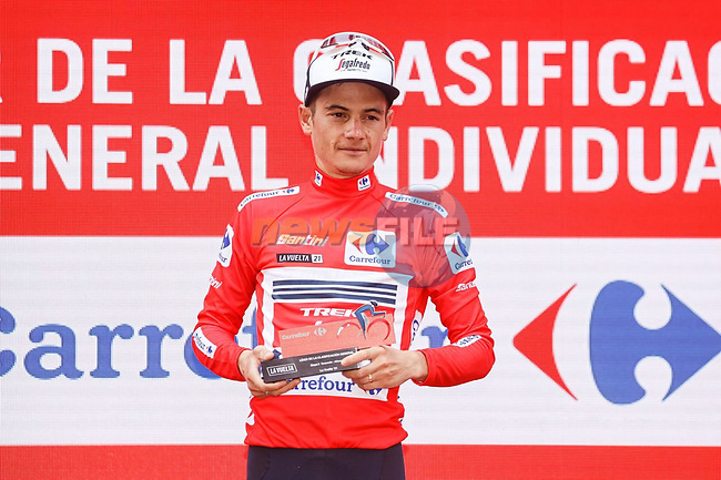 Kenny Elissonde (FRA) Trek-Segafred takes over the race leaders Red Jersey at the end of Stage 5 of La Vuelta d'Espana 2021, running 184.4km from Tarancón to Albacete, Spain. 18th August 2021.    <br /> Picture: Luis Angel Gomez/Photogomezsport | Cyclefile<br /> <br /> All photos usage must carry mandatory copyright credit (© Cyclefile | Luis Angel Gomez/Photogomezsport)