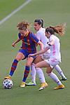 Liga IBERDROLA 2020-2021. Jornada: 18.<br /> FC Barcelona vs R. Madrid: 4-1.<br /> Caroline Graham Hansen, Thaisa de Moraes & Olga Carmona.