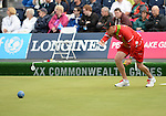 Wales Jonathan Tomlinson in action against Northern Ireland<br /> <br /> Photographer Ian Cook/Sportingwales<br /> <br /> 20th Commonwealth Games - Lawn Bowls -  Day 4 - Sunday 27th July 2014 - Glasgow - UK