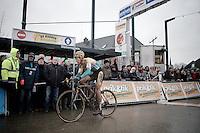 race winner Tom Meeusen (BEL/Telenet-Fidea) just crossed the finish line<br /> <br /> Druivencross Overijse 2014