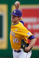 LSU Tigers starting pitcher Aaron Nola #10 warms up before the NCAA baseball game against the Mississippi State Bulldogs on March 18, 2012 at Alex Box Stadium in Baton Rouge, Louisiana. LSU defeated Mississippi State 4-2. (Andrew Woolley / Four Seam Images).