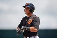 GCL Orioles Christopher Burgess (48) on first after hitting an RBI single in the top of the seventh inning to give his team the lead during a Gulf Coast League game against the GCL Braves on August 5, 2019 at Ed Smith Stadium in Sarasota, Florida.  GCL Orioles defeated the GCL Braves 4-3 in the second game of a doubleheader.  (Mike Janes/Four Seam Images)