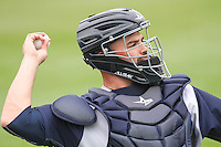 Colorado Springs Sky Sox catcher Nevin Ashley (31) warms up prior to a Pacific Coast League game against the Iowa Cubs on May 11th, 2015 at Principal Park in Des Moines, Iowa.  Colorado Springs defeated Iowa 13-7.  (Brad Krause/Four Seam Images)