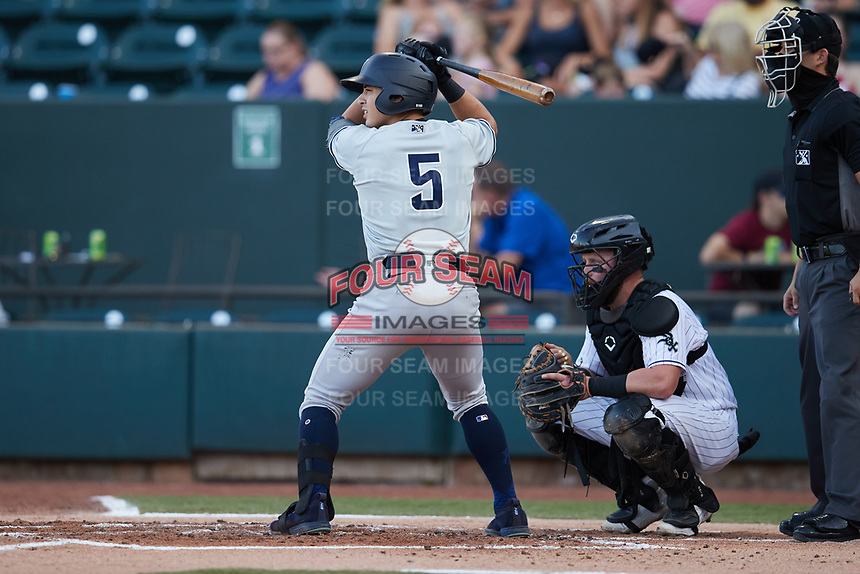 Anthony Volpe (5) of the Hudson Valley Renegades at bat against the Winston-Salem Dash at Truist Stadium on August 28, 2021 in Winston-Salem, North Carolina. (Brian Westerholt/Four Seam Images)