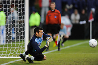 Virginia Cavaliers goalkeeper Diego Restrepo (1)makes a save during the penalty kick shootout. The Virginia Cavaliers defeated the Akron Zips 3-2 in a penalty kick shoot out after a scoreless game and overtime in the finals of the 2009 NCAA Men's College Cup at WakeMed Soccer Park in Cary, NC on December 13, 2009.