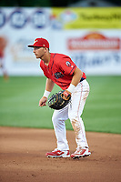 Williamsport Crosscutters first baseman Austin Listi (33) during a game against the Mahoning Valley Scrappers on July 8, 2017 at BB&T Ballpark at Historic Bowman Field in Williamsport, Pennsylvania.  Williamsport defeated Mahoning Valley 6-1.  (Mike Janes/Four Seam Images)