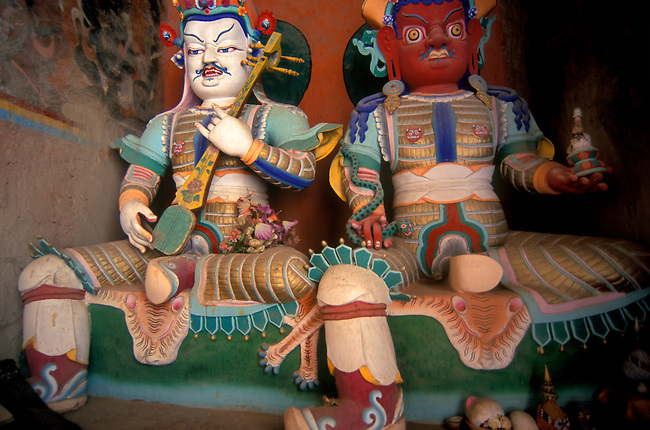 New GAURDIAN DIETY STATUES at DUKHANG ASSEMBLY HALL in THOLING MONASTERY west of MT. KAILASH - TIBET