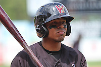 Wisconsin Timber Rattlers outfielder Brandon Diaz (5) on deck during a Midwest League game against the Kane County Cougars on May 16th, 2015 at Fox Cities Stadium in Appleton, Wisconsin.  Kane County defeated Wisconsin 4-2.  (Brad Krause/Four Seam Images)