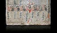Ancient Egyptian stele of Djehutynefer, treasury Scribe, limestone, New Kingdom, 18th Dynasty, (1480-1400 BC), Thebes,  Egyptian Museum, Turin. black background,Old Fund cat 1456.<br /> <br /> The detail of the stele depicts the brothers and sisters of Djehutynefer. The inscription palces the deceased under the protection of Amon in the great temple of Karnak underlining that he is entitled to share offerings brought to the god.