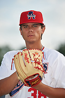 Auburn Doubledays pitcher Todd Peterson (38) poses for a photo before a NY-Penn League game against the Connecticut Tigers on July 12, 2019 at Falcon Park in Auburn, New York.  Auburn defeated Connecticut 7-5.  (Mike Janes/Four Seam Images)
